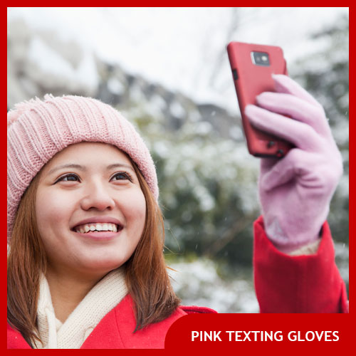 Pink Texting Gloves for Women