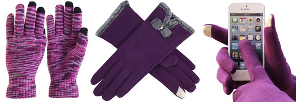 Women's Purple Touch Screen Gloves
